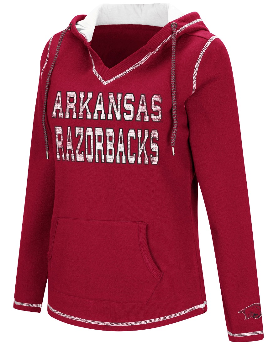"Arkansas Razorbacks Women's NCAA ""Spike"" V-neck Pullover Hooded Sweatshirt"